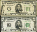 Error Notes:Gutter Folds, Gutter Fold Error Fr. 1956-F $5 1934 Dark Green Seal Mule FederalReserve Note. Very Good-Fine;. Gutter Fold Error Fr. 195... (Total:2 notes)