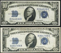 Error Notes:Gutter Folds, Minor Gutter Fold Error Fr. 1702 $10 1934A Silver Certificate. Extremely Fine;. Gutter Fold Error Fr. 1704 $10 1934C Silve... (Total: 2 notes)