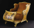 Furniture: Continental, A Hand-Painted Upholstered Chair In the Form of a Sleigh. Unknownmaker, probably Italian. Nineteenth Century. Painted woo...