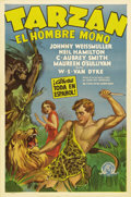 "Movie Posters:Adventure, Tarzan the Ape Man (MGM, 1932). Spanish Language One Sheet (27"" X41""). Johnny Weissmuller and Maureen O'Sullivan star in th..."