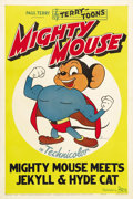 "Movie Posters:Animated, Mighty Mouse Meets Jekyll and Hyde Cat (20th Century Fox, 1944).Stock One Sheet (27"" X 41""). Great image of the Super Mouse..."