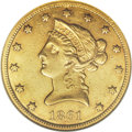 Liberty Eagles: , 1861-S $10 AU55 NGC. The 15,500-piece 1861-S ten dollar is notusually seen above the XF level of preservation, as AU coins...