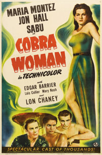 """Cobra Woman (Universal, 1944). One Sheet (27"""" X 41""""). This campy classic is the quintessential Jon Hall/Maria..."""