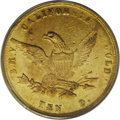 Territorial Gold: , 1855 $10 Wass Molitor Ten Dollar AU55 PCGS. Ex: S.S. Central America. SSCA 7278. K-6, High R.5. Well struck for the issue, ...