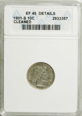 Barber Dimes: , 1901-S 10C --Cleaned--ANACS. XF45 Details. NGC Census: (9/45). PCGS Population (5/54). Mintage: 593,022. Numismedia Wsl. Pr...
