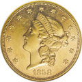 Liberty Double Eagles: , 1858 $20 AU58 NGC. This is an outstanding high-end AU example thatpossesses bright peach-gold surfaces that are awash with...