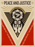 Prints & Multiples:Print, Shepard Fairey (b. 1970). Peace and Justice Summit, 2018. Screenprint in colors on cream speckled paper. 24 x 18 inches ...
