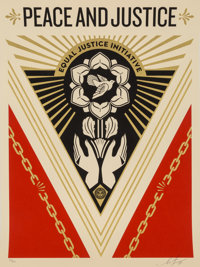Shepard Fairey (b. 1970) Peace and Justice Summit, 2018 Screenprint in colors on cream speckled pape
