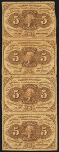 Fractional Currency:First Issue, Fr. 1230 5¢ First Issue Uncut Vertical Strip of Four Fine.. ...