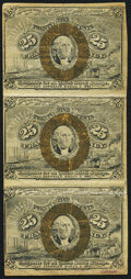 Fractional Currency:Second Issue, Fr. 1283 25¢ Second Issue Uncut Vertical Strip of Three Fine.. ...