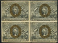Fractional Currency:Second Issue, Fr. 1244 10¢ Second Issue Uncut Block of Four Very Fine.. ...