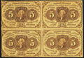 Fr. 1230 5¢ First Issue Uncut Block of Four Fine-Very Fine