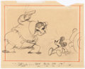 Animation Art:Production Drawing, Mickey's Service Station Mickey Mouse and Peg Leg Pete Storyboard Drawing (Walt Disney, 1935). ...