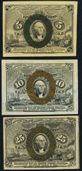Fractional Currency:Second Issue, Fr. 1232 5¢ Second Issue About New;. Fr. 1246 10¢ Second Issue About New;. Fr. 1283 25¢ Second Issue New.. ... (Total: 3 notes)