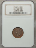 Proof Indian Cents, 1875 1C PR66 Red and Brown NGC. Snow-PR3. In a circa-2000 holder. NGC Census: (8/0). PCGS Population: (11/0). PR66. Mintage...