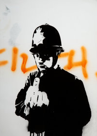 Banksy (British, b. 1974) Rude Copper, 2002 Screenprint and spray paint on paper 23-1/4 x 16-1/2 inches (59.1 x 41.9