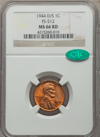 1944-D/S 1C FS-512 MS66 Red NGC. CAC. NGC Census: (10/1). PCGS Population: (10/0)....(PCGS# 37837)