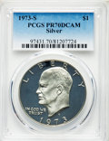 Proof Eisenhower Dollars, 1973-S $1 Silver PR70 Deep Cameo PCGS. PCGS Population: (61). NGC Census: (0). CDN: $925 Whsle. Bid for problem-free NGC/PC...