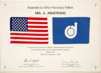 American Institute of Aeronautics and Astronautics: Space Shuttle Challenger (STS-41-B) Flown AIAA Flag on Present