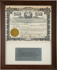 "Neil Armstrong's 1969 Presentation from James Lovell: ""Apollo Long Haul Transport Company"" Signed Stock Certif..."