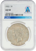 Explorers:Space Exploration, Coins: 1922 $1 AU50 NGC Peace Silver Dollar Directly From The Armstrong Family Collection™, CAG Certified. ...