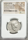 Ancients:Roman Imperial, Ancients: Hadrian (AD 117-138). AR cistophorus (29mm, 9.84 gm, 6h).NGC VF 4/5 - 3/5, overstruck....