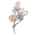 Estate Jewelry:Brooches - Pins, Baroque South Sea Cultured Pearl, Diamond, Sapphire, Palladium Brooch. ...