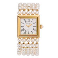 Chanel Lady's Cultured Pearl, Gold Mademoiselle Watch, circa 1989