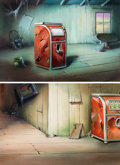 Animation Art:Painted cel background, The Ghost Town Painted Backgrounds Group of 2 (Terrytoons,1944).... (Total: 2 Original Art)