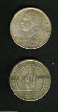 German Lots: , German Lots: A pair of Weimar Republic 5 Marks including: Lessing 5 Mark 1929J, KM-61, XF; and a Constitution 5 Mark 1929J, KM64, VF with... (Total: 2 Coins Item)