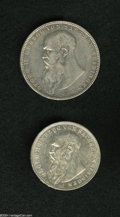 German Lots: , German Lots: Saxe-Meiningen pair including: 3 Mark 1913D, KM-203, AU; and a 5 Mark 1908D, KM-201, XF with a reverse rim bump between 5 an... (Total: 2 Coins Item)