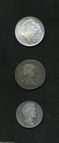 German Lots: , German Lots: Bavarian Silver Trio, KM312 1/2 Taler 1800, toned Fine, probably ex-mount, KM414 Gulden 1847, VF-XF, and KM517 3 Mark 1911, ... (Total: 3 pieces Item)