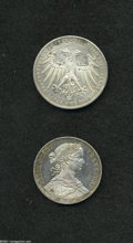 German Lots: , German Lots: Frankfurt Silver Duo, KM360 Taler 1859, toned AU-UNC, very attractive, and KM338 2 Gulden 1848, AU, harshly cleaned, spots a... (Total: 2 coins Item)
