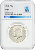 Explorers:Space Exploration, Coins: 1967 50¢ MS61 NGC Kennedy Half Dollar Directly From The Armstrong Family Collection™, CAG Certified....