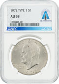 Explorers:Space Exploration, Coins: 1972 TYPE 1 $1 AU58 NGC Eisenhower Dollar Directly From The Armstrong Family Collection™, CAG Certified....