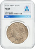 Explorers:Space Exploration, Coins: 1921 $1 AU55 NGC Morgan Silver Dollar Directly From The Armstrong Family Collection™, CAG Certified....