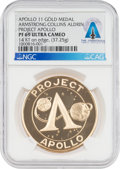 "Explorers:Space Exploration, Apollo 11 PF69 ULTRA CAMEO NGC 14K Gold ""Project Apollo"" Medal Directly From The Armstrong Family Collection™, CAG Certifi..."