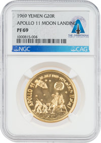 Coin: Yemen PF69 NGC Gold 20 Rials Apollo 11 Commemorative Coin Directly from The Armstrong Family Collection™, CA