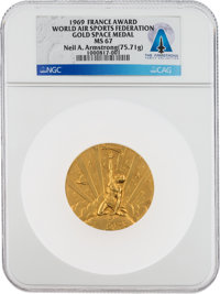 Neil Armstrong's Federation Aeronautique Internationale (World Air Sports Federation) 1969 Gold Space Medal, MS67 NGC