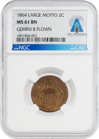 Gemini 8 Flown United States 1864 Large Motto 2¢ Piece, MS61BN NGC, with Letter of Provenance [and] Certificate of...