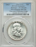 1963 50C -- Damage, Overlapping Dbl Struck two Sets Of Reeded Edge -- PCGS Genuine. AU Details. NGC Census: (4/13868). P...