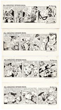 Original Comic Art:Comic Strip Art, Ric Estrada (as Fred Kida) The Amazing Spider-Man Daily Comic Strip Original Art Group of 4 (Marvel Comics/Registe... (Total: 4 Original Art)