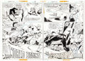 Original Comic Art:Panel Pages, Ric Estrada and Joe Staton Karate Kid #1 Double Page Spread2-3 Original Art (DC Comics, 1976).... (Total: 2 Original Art)