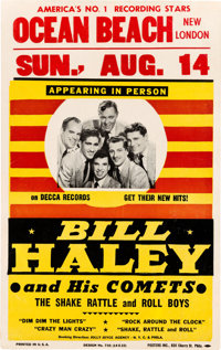 "Bill Haley and His Comets Summer 1955 Concert Poster w/""Rock Around the Clock"""