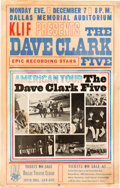 Music Memorabilia:Posters, Dave Clark Five Concert Poster Owned By Famous Groupie (1964).. ...