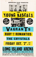 Music Memorabilia:Posters, Young Rascals / Crystals / Leslie West 1966 Concert Poster.. ...