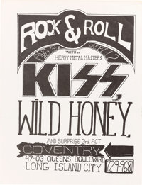 KISS Very Early, Pre-First-Album Concert Poster (1973)