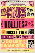 Music Memorabilia:Posters, The Hollies / The Kinks 1965 Small British Concert Poster.. ...