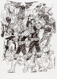 Carlos Ezquerra Judge Dredd Cover Preliminary Artwork Original Art (undated)