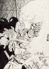 Simon Bisley- Judge Dredd Preliminary Cover Original Art (undated)